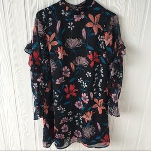 Who What Wear Floral Print Long Sleeve Dress Sz XS